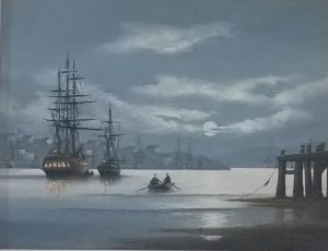 Marine artist, Ken Hammond,developed his style having spent time crewing various sailing vessels, including The Sir Winston Churchill (a top sail schooner) and Thames barges. These experiences have helped him with his understanding of the rigging and working of old sailing ships which makes his work look so realistic. look so realistic.